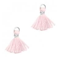 Tassels 1cm Silver-Apple Blossom Pink