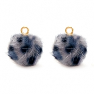 Pompom charms Faux fur leopard Grey-Blue