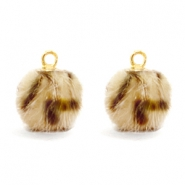 Pompom charms Faux fur leopard Light Brown