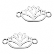 DQ European metal charms connector lotus Antique Silver (nickel free)