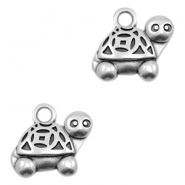 DQ European metal charms turtle Antique Silver (nickel free)