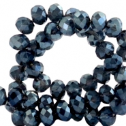 Top faceted beads 8x6mm disc Dark Greige Montana Blue-Top Shine Coating