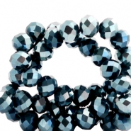 Top faceted beads 4x3mm disc Montana Blue-Top Shine Coating
