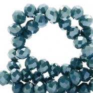 Top faceted beads 8x6mm disc Ash Blue-Top Shine Coating