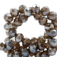 Top faceted beads 4x3mm disc Dark Taupe Grey-Top Shine Coating