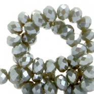 Top faceted beads 6x4mm disc Olive Grey-Top Shine Coating