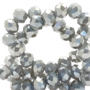 Top faceted beads 8x6mm disc Light Taupe Grey-Top Shine Coating