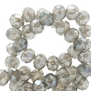 Top faceted beads 6x4mm disc Light Grey-Top Shine Coating