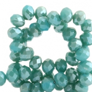 Top faceted beads 6x4mm disc Porcelain Green-Top Shine Coating