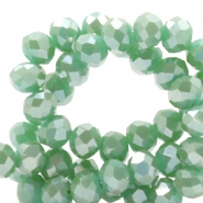 Top faceted beads 6x4mm disc Ocean Green-Top Shine Coating
