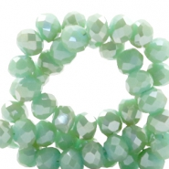 Top faceted beads 6x4mm disc Green Ash-Top Shine Coating