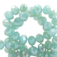 Top faceted beads 8x6mm disc Turquoise Blue-Top Shine Coating