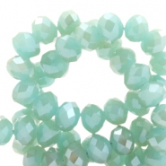 Top faceted beads 6x4mm disc Turquoise Green-Top Shine Coating