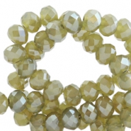 Top faceted beads 6x4mm disc Olive Green-Top Shine Coating