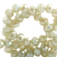Top faceted beads 6x4mm disc Champagne-Top Shine Coating