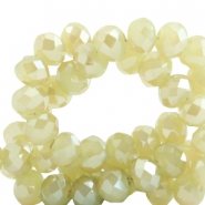 Top faceted beads 4x3mm disc Light Cress Green-Top Shine Coating