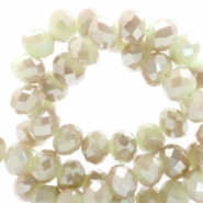 Top faceted beads 4x3mm disc Soft Gossamer Green-Top Shine Coating