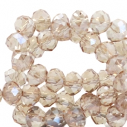 Top faceted beads 6x4mm disc Beige Brown-Top Shine Coating