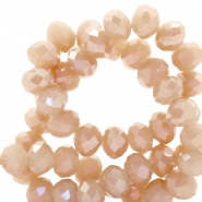Top faceted beads 8x6mm disc Nude Beige Brown-Top Shine Coating