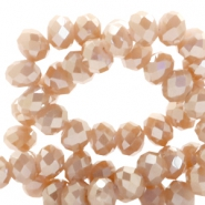 Top faceted beads 8x6mm disc Nude Rose Gold-Top Shine Coating