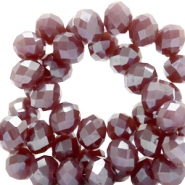 Top faceted beads 8x6mm disc Aubergine-Top Shine Coating