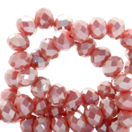 Top faceted beads 6x4mm disc Vintage Red-Top Shine Coating
