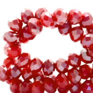 Top faceted beads 8x6mm disc Bright Red-Top Shine Coating