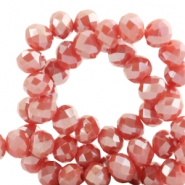Top faceted beads 6x4mm disc Coral Red-Top Shine Coating