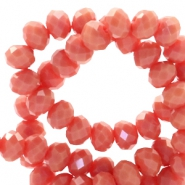 Top faceted beads 8x6mm disc Vintage Coral Red