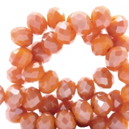 Top faceted beads 8x6mm disc Vermillion Orange-Top Shine Coating