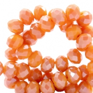 Top faceted beads 6x4mm disc Vermillion Orange-Top Shine Coating