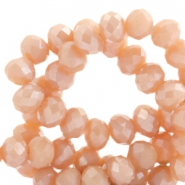 Top faceted beads 8x6mm disc Nude Orange-Top Shine Coating