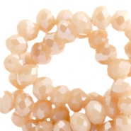 Top faceted beads 8x6mm disc Peach Rose-Top Shine Coating