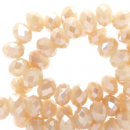 Top faceted beads 6x4mm disc Rose Cream-Top Shine Coating