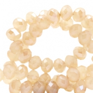 Top faceted beads 8x6mm disc Light Rose Cream-Top Shine Coating
