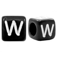Acrylic letter beads letter W Black