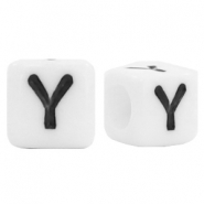 Acrylic letter beads letter Y White