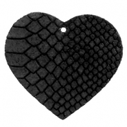 DQ European leather pendants heart Onyx Black