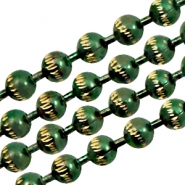 Ball chain gold line 3mm Green