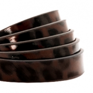 10 mm flat faux leather leopard print Dark Chocolate Brown