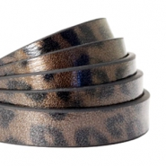 10 mm flat faux leather leopard print Cedar Brown