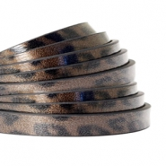 5 mm flat faux leather leopard print Cedar Brown