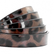 10 mm flat faux leather leopard print Chocolate Brown