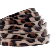 5 mm flat faux leather leopard print Taupe