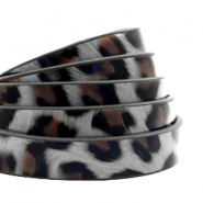 10 mm flat faux leather leopard print Graphite Grey
