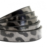 10 mm flat faux leather leopard print Taupe Grey