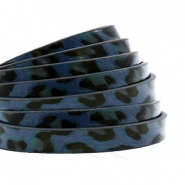5 mm flat faux leather leopard print Dark Blue