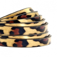 5 mm flat faux leather leopard print Gold