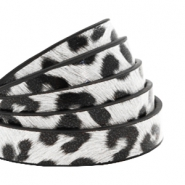10 mm flat faux leather leopard print White