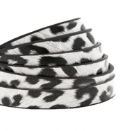 5 mm flat faux leather leopard print White